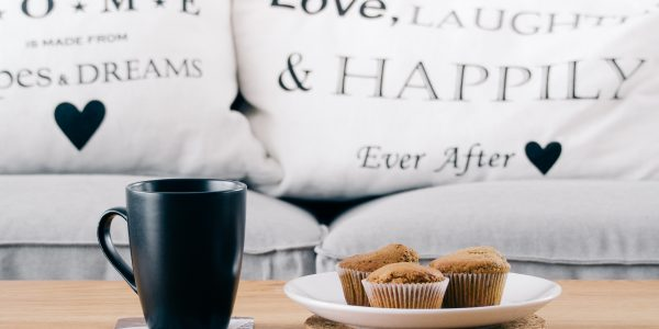 pillows coffee muffins love laugh and happiness ever after